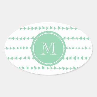 Mint Green White Aztec Arrows Monogram Oval Stickers
