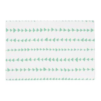 Mint Green White Aztec Arrows Pattern Laminated Place Mat