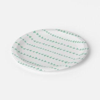 Mint Green White Aztec Arrows Pattern Paper Plate