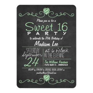 Mint Green, White Chalkboard Hearts Sweet 16 Party Card