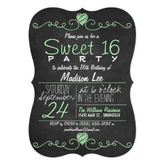 Mint Green, White Chalkboard Rustic Sweet 16 Party Card