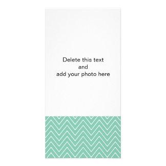 Mint Green White Chevron Pattern 2A Card