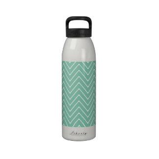 Mint Green White Chevron Pattern 2A Drinking Bottles