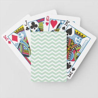 Mint Green White Chevron Pattern Bicycle Playing Cards