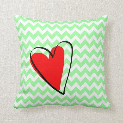 Mint Green White Chevron Pattern Cute Red Heart Pillows Zazzle