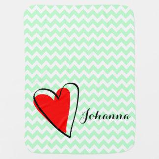 Mint Green White Chevron Pattern Cute Red Heart Receiving Blanket