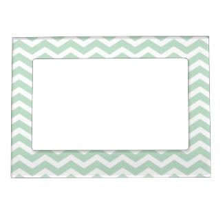 Mint Green White Chevron Pattern Magnetic Frame