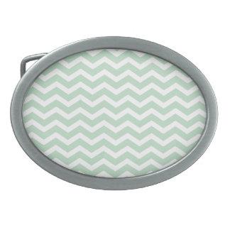 Mint Green White Chevron Pattern Oval Belt Buckle