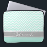 "Mint Green White Chevron Zigzag Pattern Gray Name Laptop Sleeve<br><div class=""desc"">A chic,  trendy,  girly,  mint green modern chevron zigzag pattern with color blocking bottom border in a deep mint. The design features a grey and white customizable name template for easy personalization.</div>"
