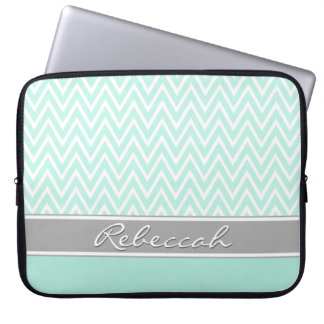 Mint Green White Chevron Zigzag Pattern Gray Name Laptop Sleeve