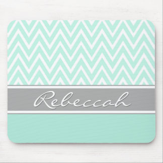 Mint Green White Chevron Zigzag Pattern Gray Name Mouse Pad