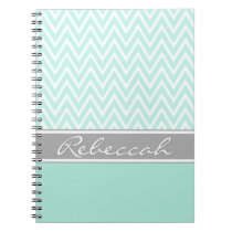 Mint Green White Chevron Zigzag Pattern Gray Name Notebook