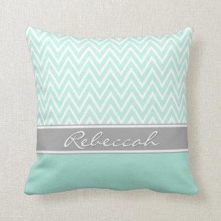 Mint Green White Chevron Zigzag Pattern Gray Name Throw Pillow at Zazzle
