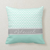 Mint Green White Chevron Zigzag Pattern Gray Name Throw Pillow
