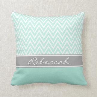 Mint Green White Chevron Zigzag Pattern Gray Name Throw Pillow