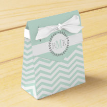 Mint green, white chevron zigzag pattern wedding favor box