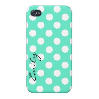 Mint Green & White Custom Polka Dot iPhone 4 Case