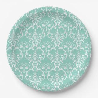 Mint Green & White Damask Pattern Wedding Plates