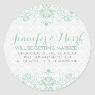 Mint-Green & White Damask Save The Date Sticker