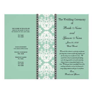 Mint Green White Damask Wedding Program