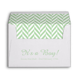 Mint Green White Due Date Baby Shower Envelopes