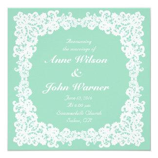 Mint green & white elegant square lace invitation