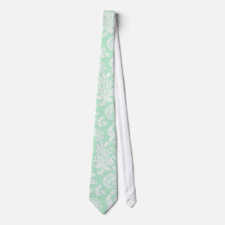 Mint-Green & White Floral Damask Pattern Neck Tie