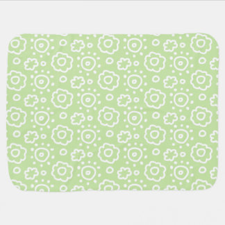 Mint Green White Floral Pattern Baby Baby Blankets