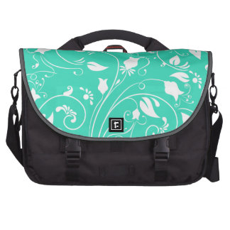 Mint Green White Floral Swirls Flowers Commuter Bags