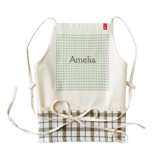 mint green,white,gingham,floral,country chic,girly zazzle HEART apron