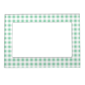 Mint Green White Gingham Pattern Magnetic Frame