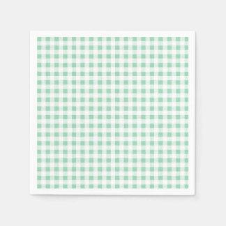 Mint Green White Gingham Pattern Napkin