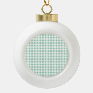 Mint Green White Gingham Pattern Ornament