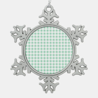 Mint Green White Gingham Pattern Ornaments