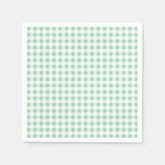 Mint Green White Gingham Pattern Disposable Napkins