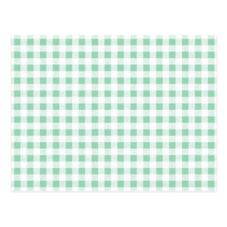 Mint Green White Gingham Pattern Postcard