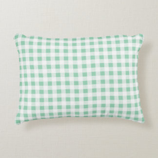 Mint Green White Gingham PatternMint Green Decorative Pillow