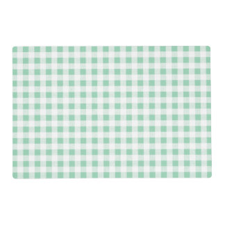 Mint Green White Gingham PatternMint Green Laminated Placemat