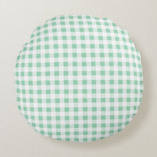 Mint Green White Gingham PatternMint Green Round Pillow