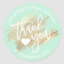 Mint Green White Gold Brush Stroke Bridal Shower Classic Round Sticker