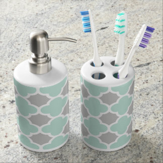 Mint Green White Gray Quatrefoil Pattern Soap Dispenser