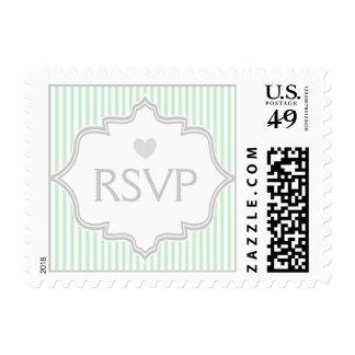 Mint green, white, grey stripes wedding RSVP Postage