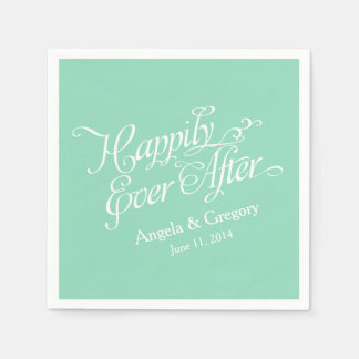 Mint Green White Happily Ever After Wedding Paper Napkin