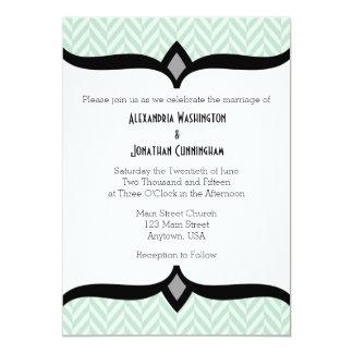 Mint Green White Herringbone Wedding Invitation