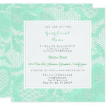 Hand shaped Mint Green White Lace Bridal Shower Birthay Party Card