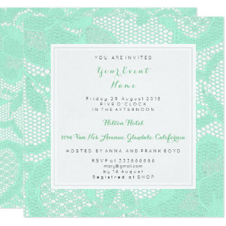 Mint Green White Lace Bridal Shower Birthay Party Card