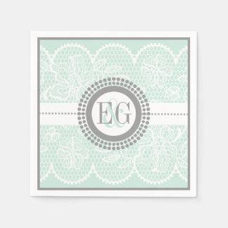 Mint green, white lace pattern wedding paper napkin
