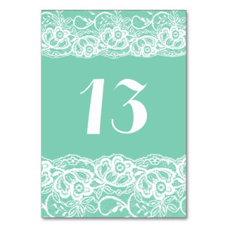 Mint Green White Lace Sexy Table Number Cards