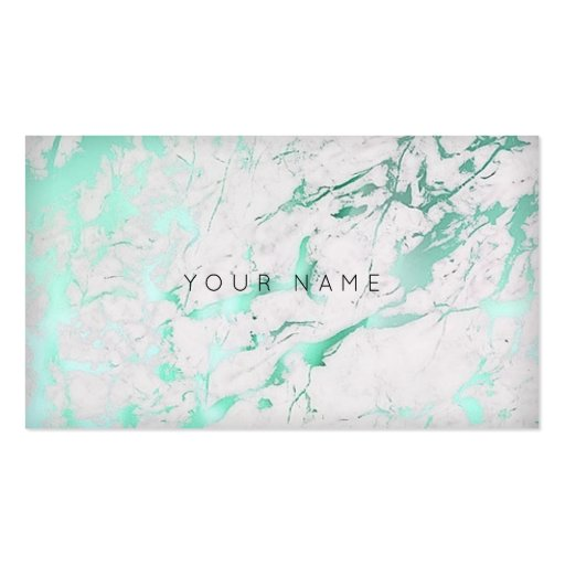 Mint Green White Marble Glam Vip Business Card Zazzle