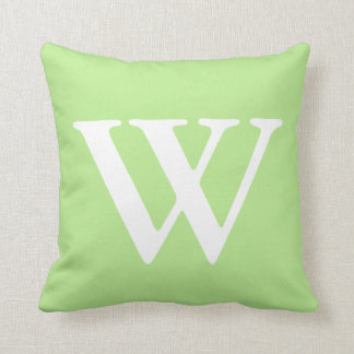 Mint Green White Monogrammed W Throw Pillow